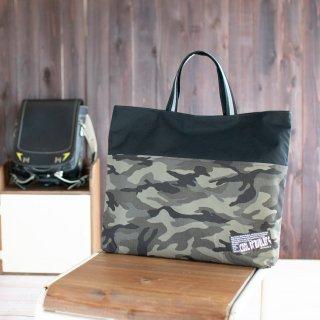 【リフレクター付き】迷彩柄(カモフラ)のレッスンバッグ:大サイズ ブラック