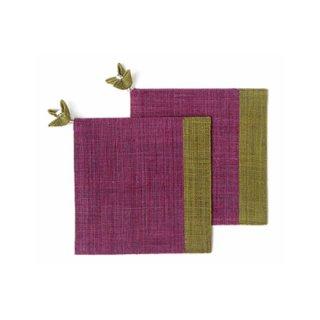 麻布コースター 草/赤紫色(花飾り付) 2枚セット