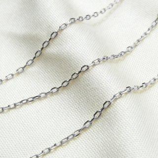 K18ホワイトゴールド アズキ「小豆」チェーン 50cm 1.1mm