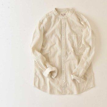 UES 501805 ドビーストライプバンドカラーシャツ(UNISEX)
