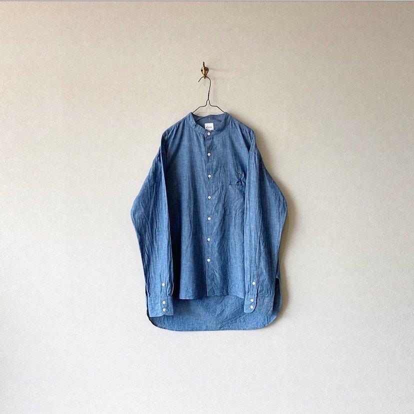 【MY-SH001】インディゴシャンブレー バンドカラー L/S シャツ