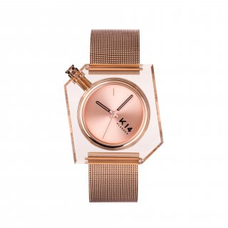 K14 IRREGULARLY SQUARE Rose Gold with Mesh Strap 40mm