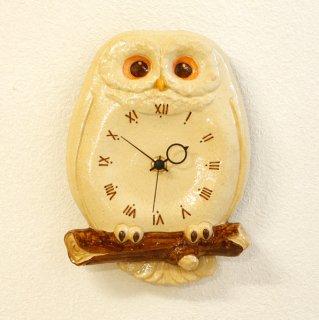 フクロウ 尾振り掛時計 おはよう