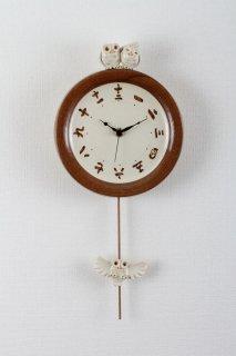 シロフクロウ ファミリー掛時計