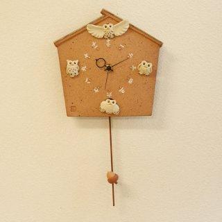 フクロウ巣箱 掛時計