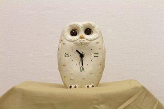 シロフクロウ 見守り置時計
