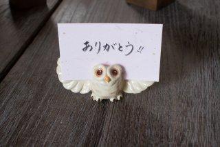 フクロウ カード立て(羽ひらき)