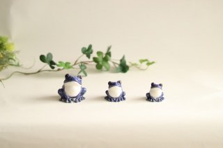 福々カエル3匹セット 青色