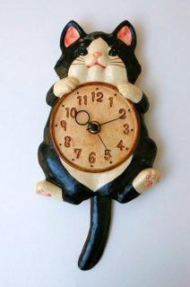 陶器の掛時計 福々招き猫 ハチ尾振