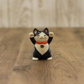 【小】陶器の福々招き猫 黒