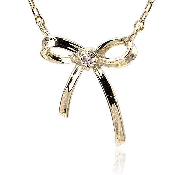 ダイヤモンド×モダンリボンネックレス