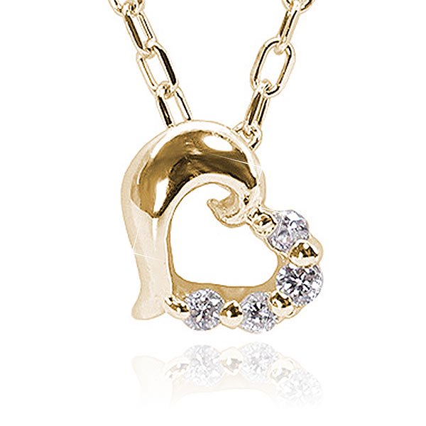 ダイヤモンド×ぷっくりハートネックレス