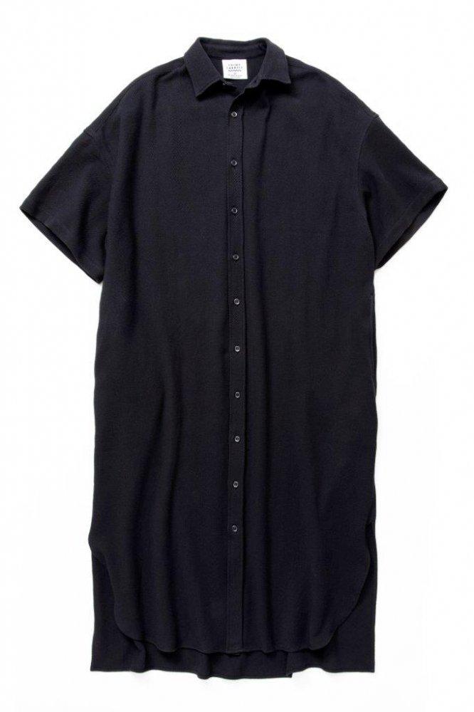 ロングドレスシャツ バスケット柄タオルクロス