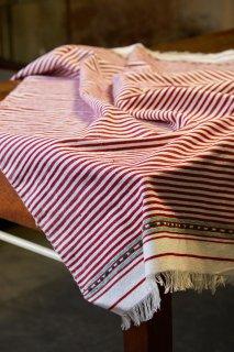 Cloth of Chefchaouen メンディール薄地 レッド×ポイントグリーン