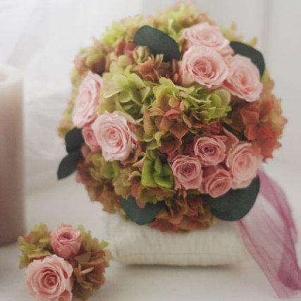 プリザーブドフラワーブーケ 紫陽花グリーンボルドーラウンドブーケ