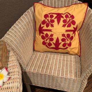 南国ハイビスカス刺繍クッションカバー50×50ファスナー式