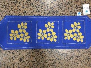 南国ハイビスカス刺繍テーブルランナー100×30