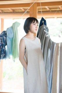 Organic Cotton&Linenストライプ生地 Aラインワンピース