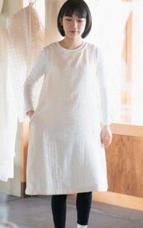 Organic Cotton3重ガーゼ生成り色 Aラインワンピース
