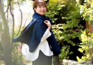 Organic Cotton 藍染 ストール【ボタニカル織り柄】