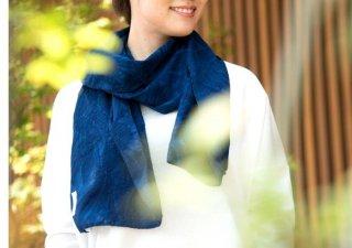 Organic Cotton 藍染 夏のマフラー【ボタニカル織り柄】