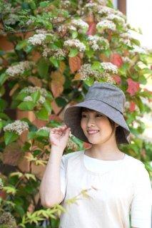 日よけ帽子【リネンコットン、へリンボーン生地/ブラウン系】