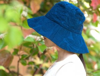 Organic Cotton 日よけ帽子【藍染/ボタニカル織り柄】
