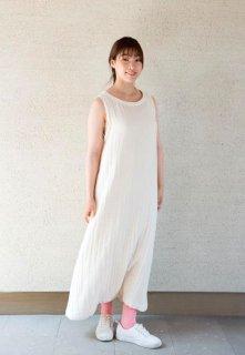 Organic Cotton3重ガーゼ Aラインロングワンピース(生成り色)