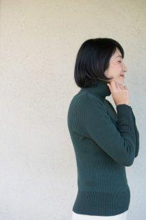 Organic Cotton無縫製バイカラーリブタートルセーター【Mサイズ/ヒイラギ】