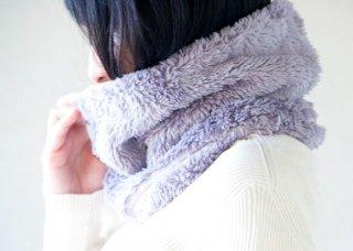 Organic Cotton Fur ふわふわ''ボタニカルダイ''Bigサイズネックウォーマー 【ブラックマロウ】