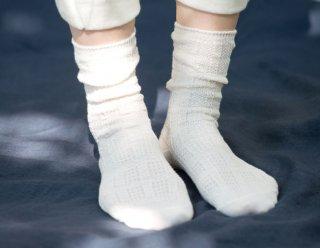 Organic Cotton&Linen レース編みソックス【オフホワイト】