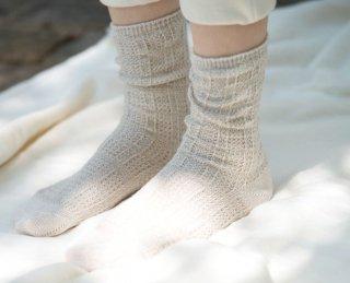 Organic Cotton&Linen レース編みソックス【グレーベージュ】