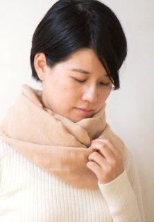 Organic Cotton 3重ガーゼのスヌード (茶色)