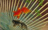 水うちわ 手描き 金魚 一重 台座付