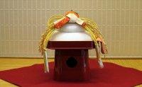 お鏡三方飾り 稲穂 紅白熨斗(のし)飾り