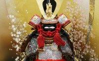 大越忠保 鎧 7号 茶中白威 「陣風」 京桜二曲屏風