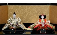 小出松寿作 京十番 和柄にオーガンジー 親王飾 「金紗唐草」