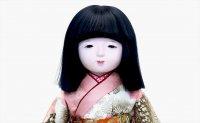 味岡映水-伊藤草園 市松人形 一部式(本着せ・本結び) 本絹 鶴と鴛(おしどり)