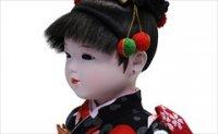 小出松寿 市松人形 八寸 特選友禅 黒 ハートに椿