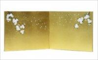 <雛具> 和紙入金沢箔 枝桜二曲包み込み屏風11号サイズ
