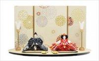 小出松寿作 SOU・SOUテキスタイルの雛人形「金襴緞子 夜色」と「金襴緞子」