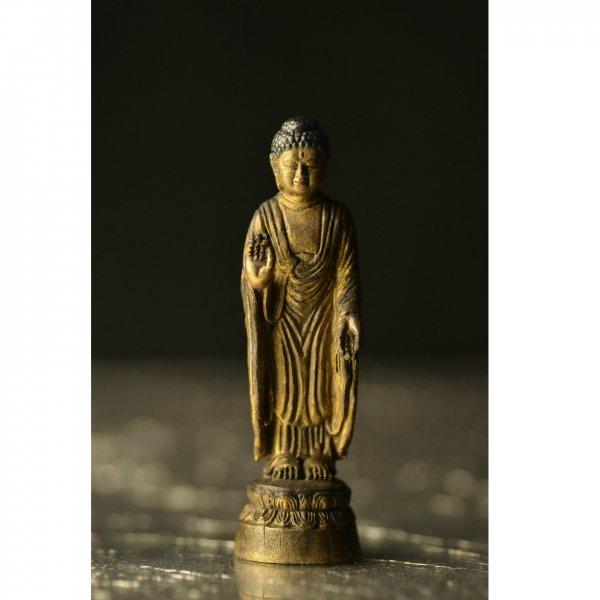 極小仏像 阿弥陀如来 金銅仏仕上げ