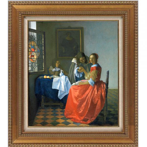 プリハード複製画/ヨハネス・フェルメール「2人の紳士と女」