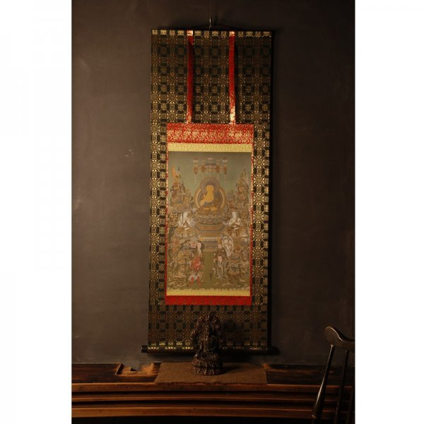 釈迦十六善神図 仏画掛け軸(半切サイズ)