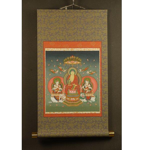 釈迦三尊 模表装仕立て 仏画掛け軸(模軸)