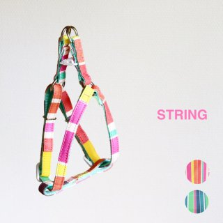 String Triangle Harness<br>Pink / Green<br>S / M / L