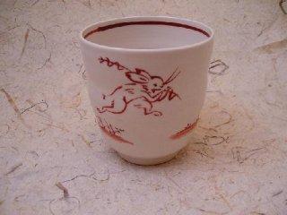 手描き赤絵鳥獣戯画フリーカップ