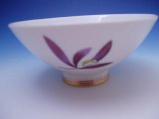 紫ラン絵御飯茶碗