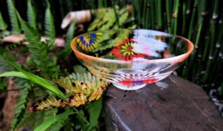 京絵付け手描きガラス花火抹茶碗