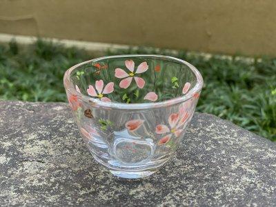 京絵付け手描きガラス桜ぐい呑み
